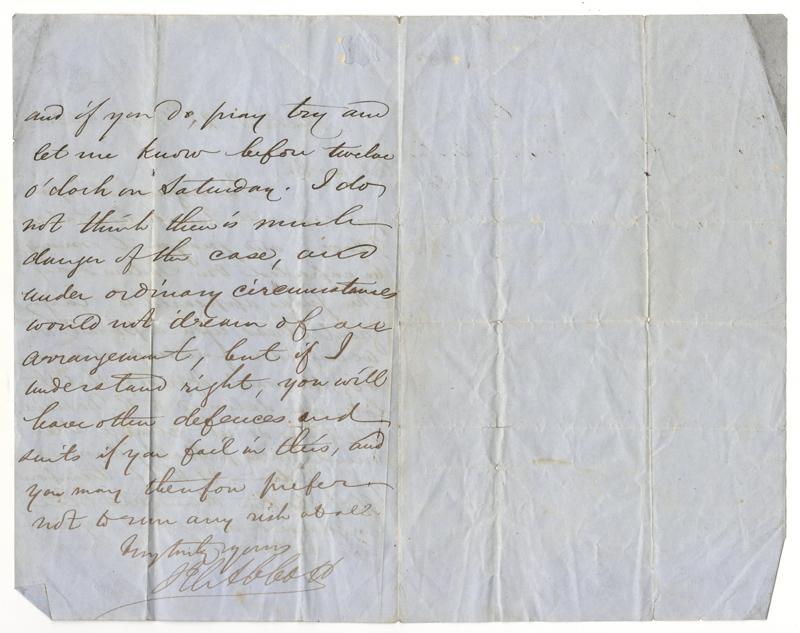 John Abbott signed 28 Dec 1853 folded letter ii