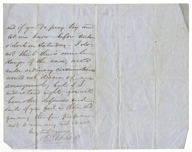 John Abbott signed 28 Dec 1853 folded letter ii