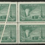 Canada #294var 1950 50c Oil Pre-Printing Crease Block