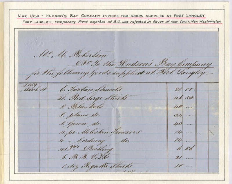 Page 5 Invoice for goods supplied to H.B.C. at Fort Langley 1859, Fraser River Gold Rush collection