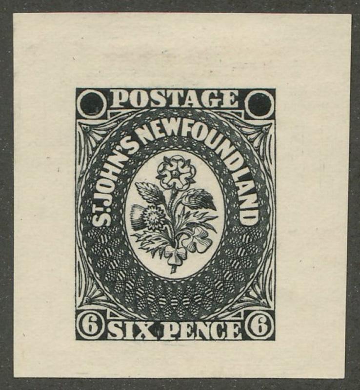 Newfoundland #6P 1857/62 6d Black Progressive Proof