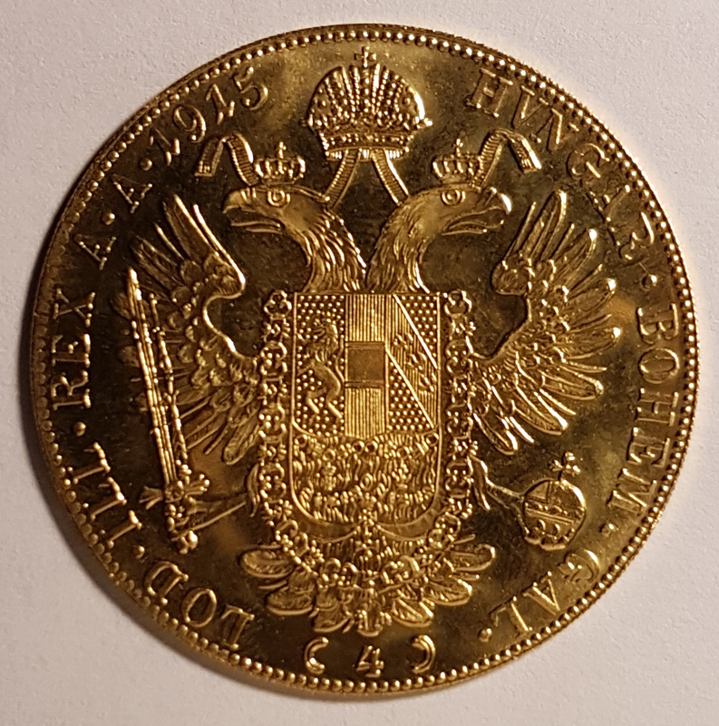 Reverse: Austria 1915 Franz Josef Gold 4 Ducat