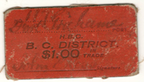 H.B.C. B.C. District Fort Grahame No. 117 $1 Scrip