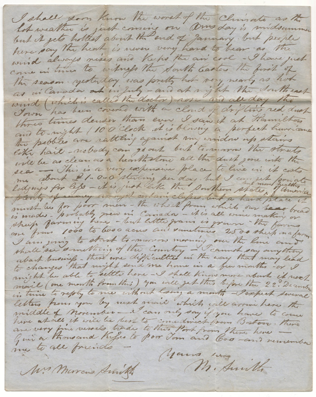 Last page Capetown 18 Oct 1860 Marcus Smith 4-page letter to his Canadian wife