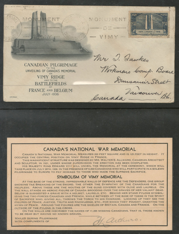 FDC and card in folder for 26 July 1936 Vimy Memorial FDC to Vancouver, B.C.