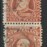 New Zealand #133bc 1909 3d Edward Pair w/different perfs