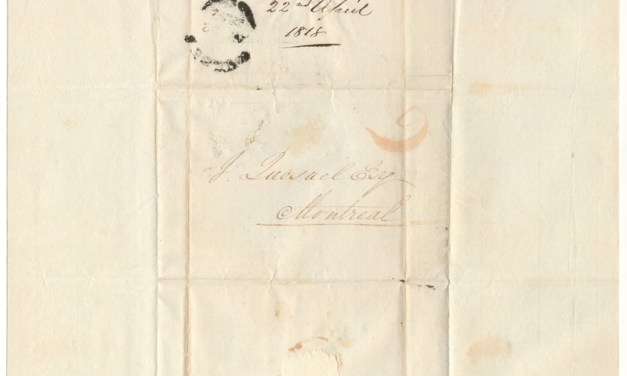 1818 Quebec/Montreal Stampless folded letter sheet addressed to fur  trader Jules Quesnel