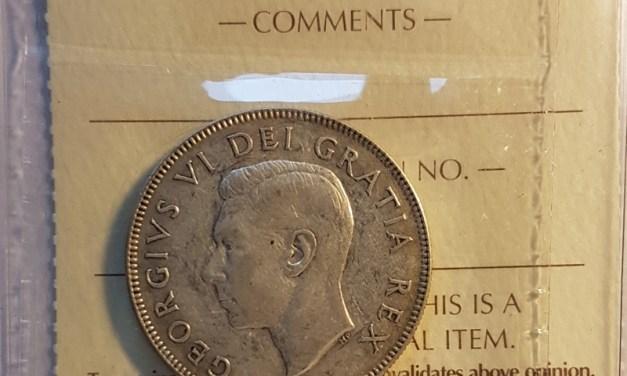 Canada ICCS F15 1948 George VI Silver 50 Cents