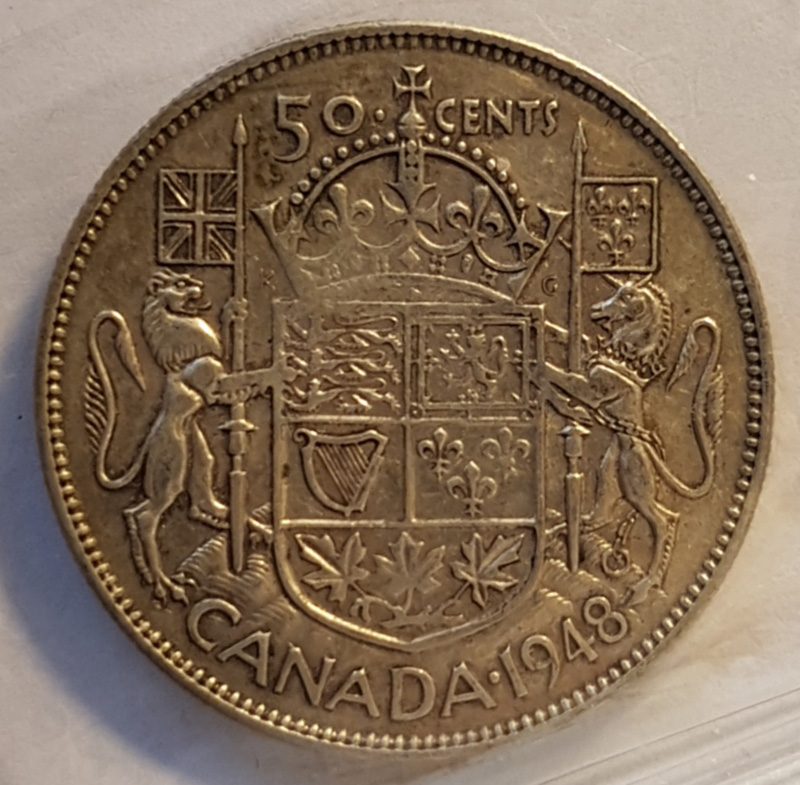Reverse of 50 cents Canada 1948