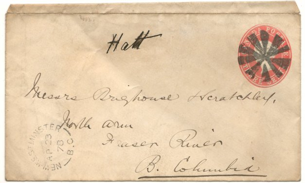 New Westminster, B.C. 1878 3c Brighouse & Scratchley Cover