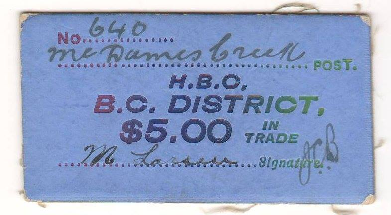McDames Creek blue $5 card money No. 640