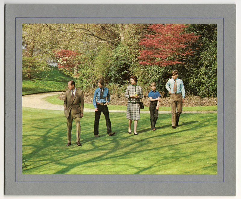 colour picture of Royal Family walking in winter sunny park