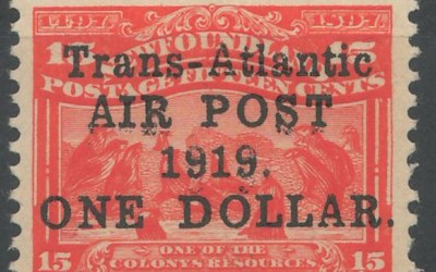 Newfoundland #C2a 1919 $1 on 15c No Comma After Post