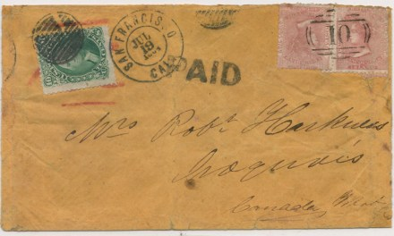 B.C. #2 1864 William's Creek Mixed Franked Cover to Canada West