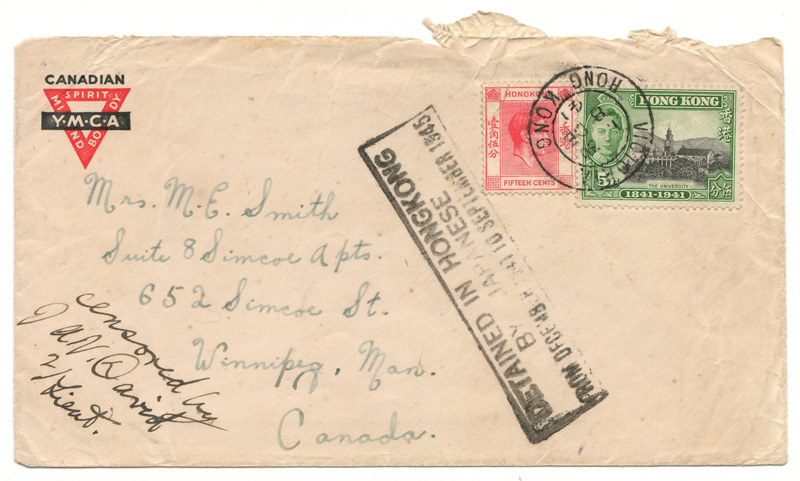 front of cover Canadian YMCA, Hong Kong Stamps with DETAINED IN HONG KONG stamp