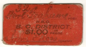 Front of Fort Grahame red $1 card money No. 321