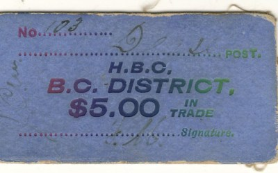 H.B.C./B.C. District Dease Post $5 card money – last of find