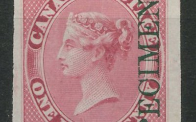 Lot 20 Canada #8pi VF 1857/64 1/2d Green Specimen Ovpt Plate Proof $300.