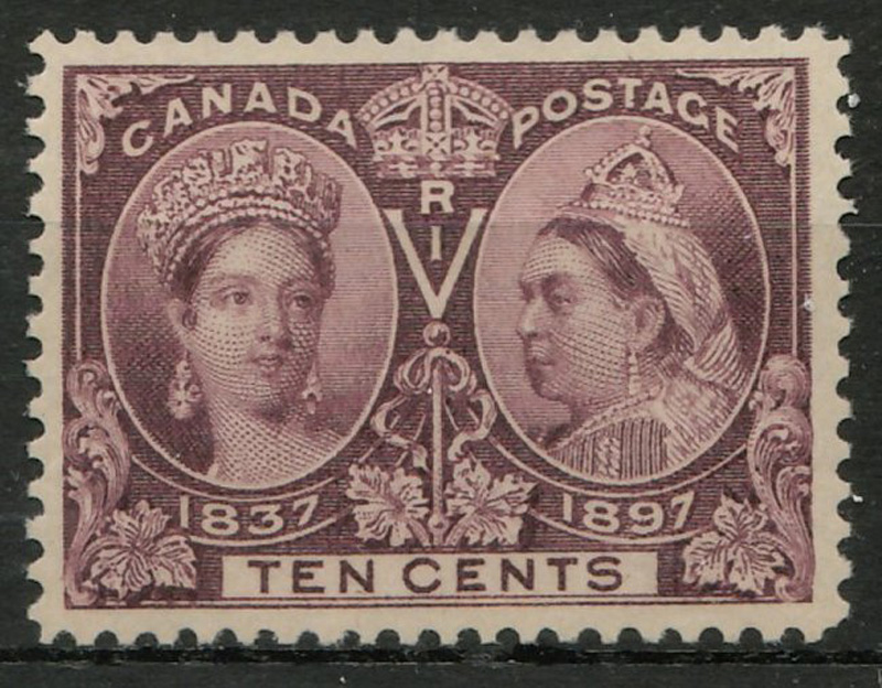 front of stamp, brown violet hue