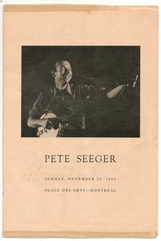 Photo of Peter Seeger and signed underneath the words SUNDAY, NOVEMBER 22, 1964 PLACE DES ARTS - MONTREAL