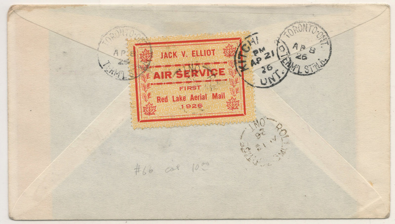 Back of the envvelope with Jack Elliot stamp