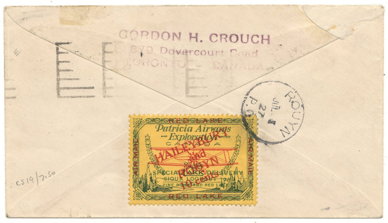 Back of cover with Patricia Airways stamp