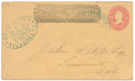Wells Fargo 1864 Post Office Victoria Blue Oval Cover to Sacramento