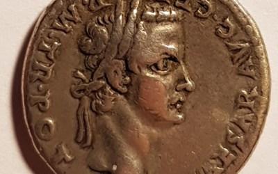 Caligula 37-41AD Silver Denarius w/ Augustus Caesar