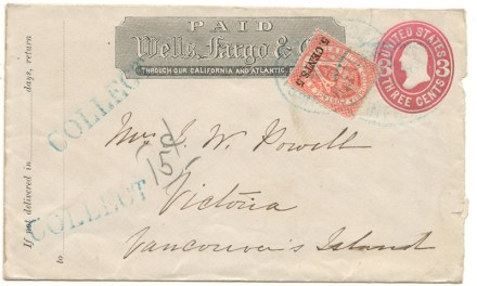 Wells Fargo mixed franked #9 Collect Pasteup Cover to Victoria, V.I.
