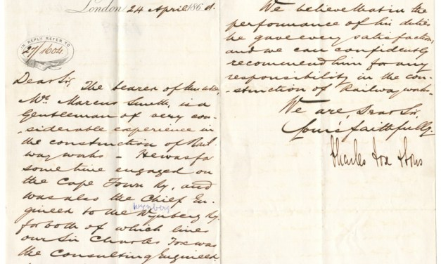 Charles Fox Signed Reference Letter for Marcus Smith