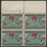 Canada #86b F/VF Mint 2 NH top margin Imprint Map reentry Block (4)