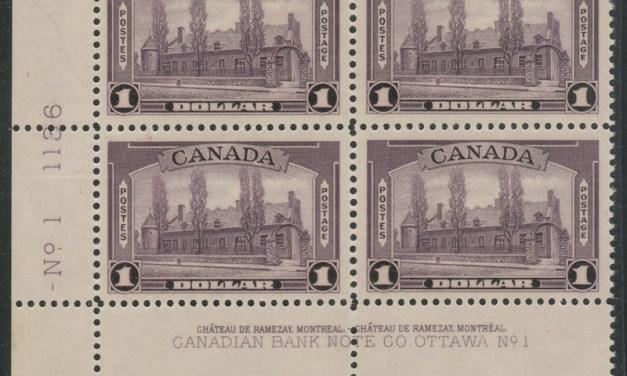 Canada #245i VFNH LL 1938 $1 Aniline Ink Plate One Block