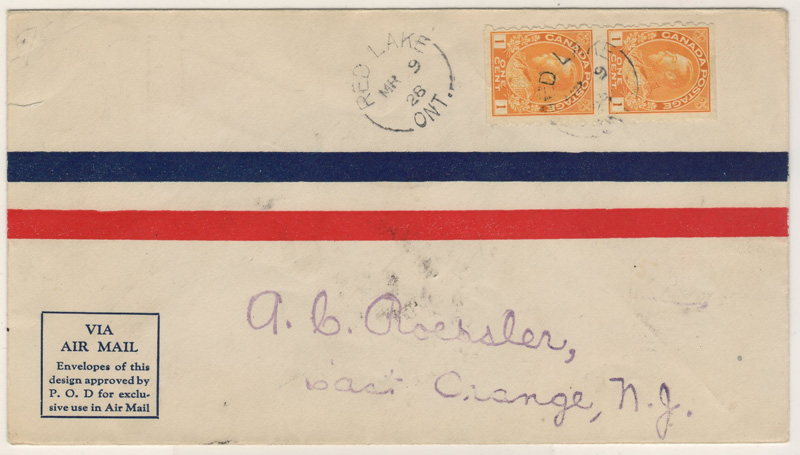 front of cover with stamps and address