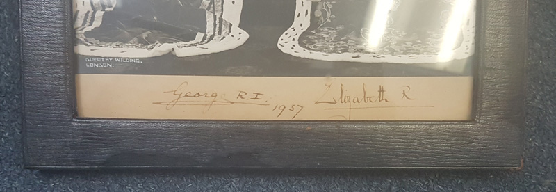 Royal Signatures at bottom of photograph
