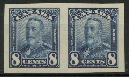 Canada #154a XFNH 1928 5c Blue Imperforate Horizontal Pair