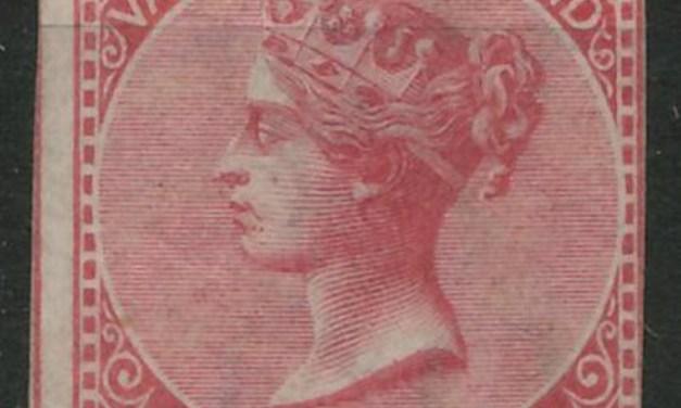 B.C. #3 Fine Unused 1865 5c Rose Imperforate, tear & thin 2007 Greene certificate states genuine $20,000
