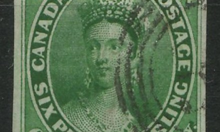 Canada #9 VF Used 1857 7.5d Green Wide & Narrow Margins