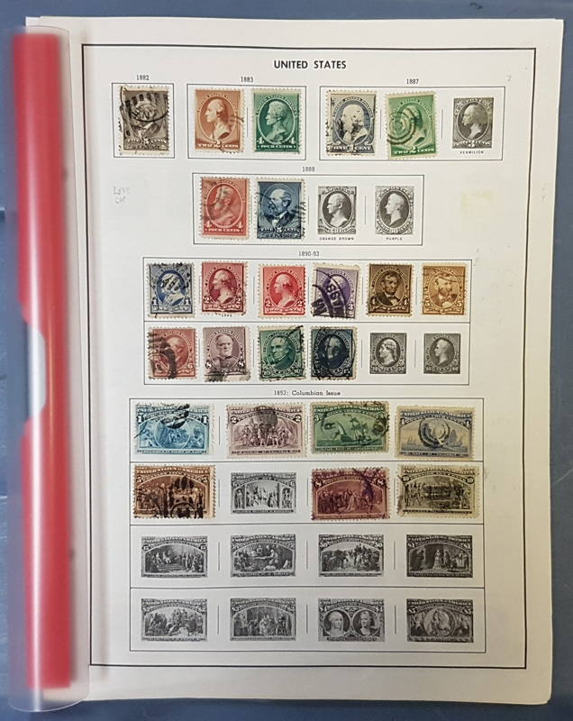 stamps in album page