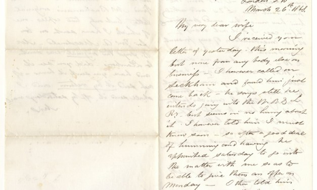 26 Mar 1868 London Marcus Smith Letter mentions John A. Macdonald