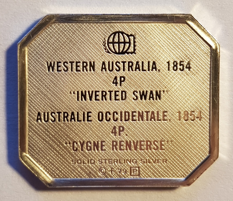 printed letters Western Australia 1854 inverted swan on stamp shape in silver