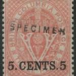 B.C. #9S Fine Mint OG 1867/1871 5c Specimen w/ 2005 Greene Cert