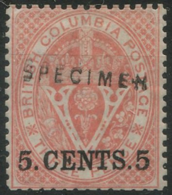 stamp with SPECIMEN 5.CENTS.5 overprint