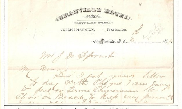 Page 73, 1884 letter from Sam Greer on Joseph Mannion's Granville Hotel letterhead, witnessed by Matthew Baillie Begbie