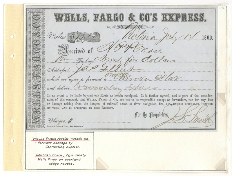Wells Fargo Receipt on Wellburn album page