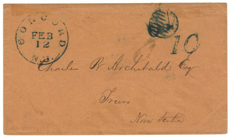 Handwritten address and cancels