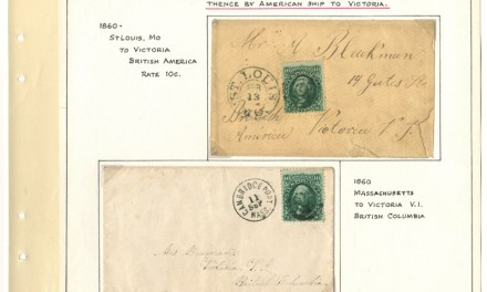 Page 33, 1868 10c Washington Covers to Victoria, V.I. duo, Fraser River Gold Rush collection