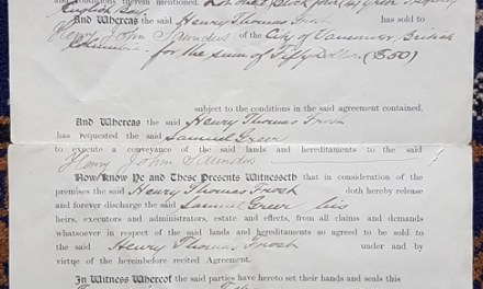 Henry Thomas Frost, Samuel Greer, Lot 1 Conveyance Document 20 Feb 1890