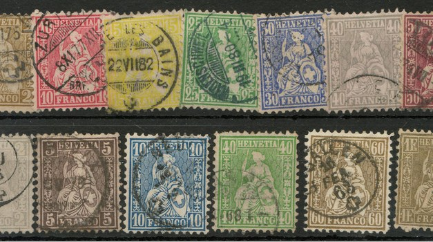 Switzerland #41/59 Used 1862/1876 odd short perf US$745. (13)