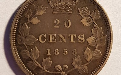 Province of Canada VF 1858 single year type Silver 20 Cents die crack