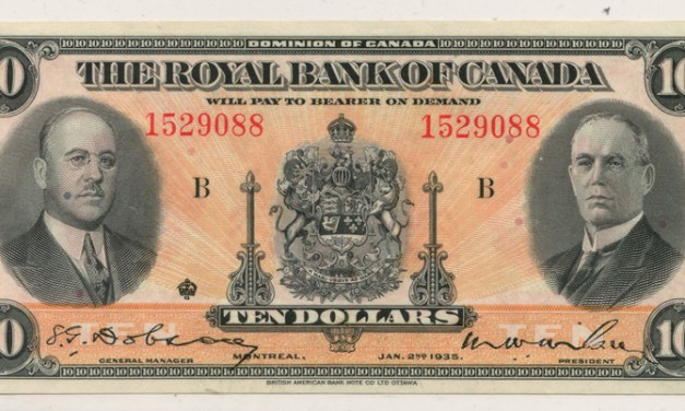 Royal Bank of Canada Unc 1935 Large Signatures $10 Banknote